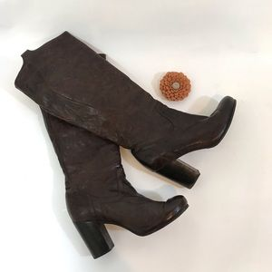 FRYE Carson Heel Chocolate Brown Tall Boot